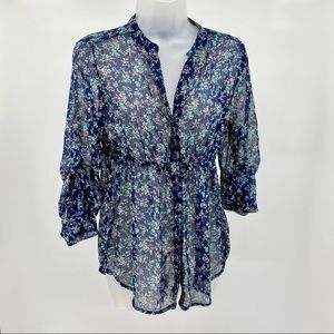 RUE 21 Floral Button Up Top A01
